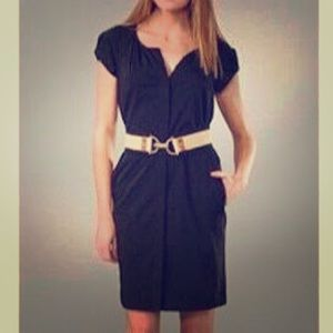 DVF Black Cap Sleeve Button Down Luisa Shift Dress